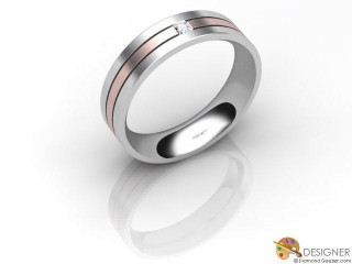Men's Diamond 18ct. White and Rose Gold Court Wedding Ring-D10411-2403-001G