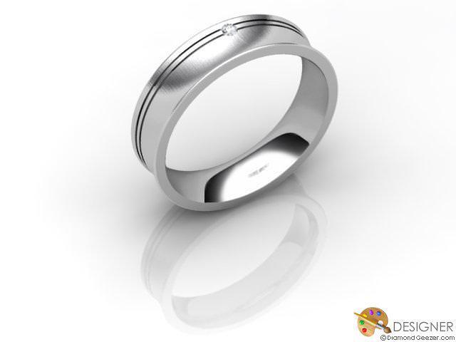 Men's Diamond 18ct. White Gold Court Wedding Ring