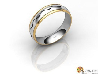 Men's Designer 18ct. Yellow and White Gold Court Wedding Ring-D10450-2801-000G