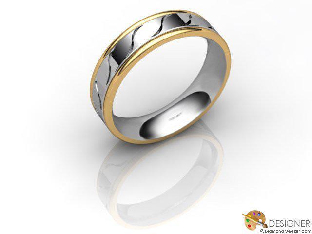 Women's Designer 18ct. Yellow and White Gold Flat-Court Wedding Ring