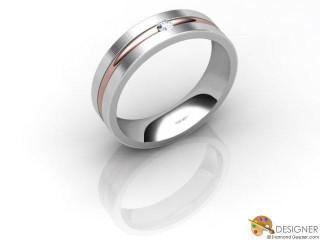 Men's Diamond 18ct. White and Rose Gold Court Wedding Ring-D10467-2401-001G