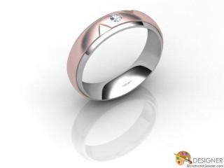Men's Diamond 18ct. White and Rose Gold Court Wedding Ring-D10472-2403-001G