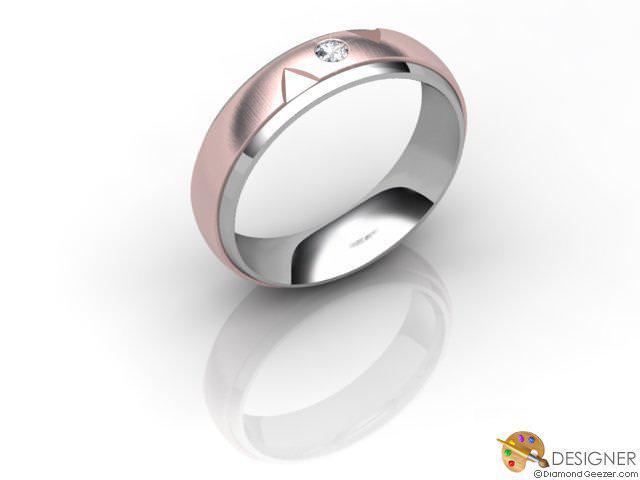 Men's Diamond 18ct. White and Rose Gold Court Wedding Ring