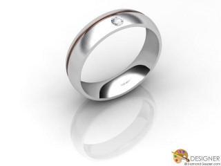 Men's Diamond 18ct. White and Rose Gold Court Wedding Ring-D10478-2401-001G