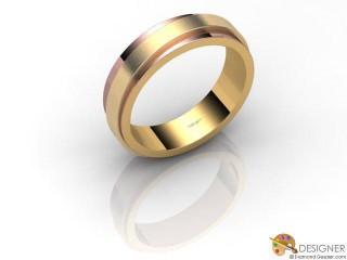 Men's Designer 18ct. Rose and Yellow Gold Court Wedding Ring-D10480-2501-000G