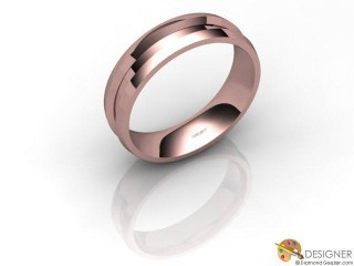 Men's Designer 18ct. Rose Gold Court Wedding Ring-D10481-0401-000G