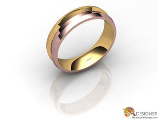 Men's Designer 18ct. Rose and Yellow Gold Court Wedding Ring-D10481-2501-000G