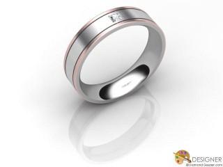 Men's Diamond 18ct. White and Rose Gold Court Wedding Ring-D10486-2403-001G