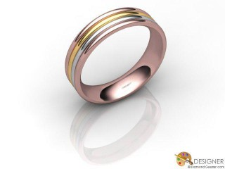 Men's Designer 18ct. Rose and Yellow Gold Court Wedding Ring-D10498-2501-000G