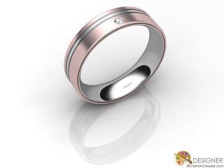Men's Diamond 18ct. White and Rose Gold Court Wedding Ring-D10504-2403-001G