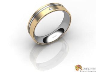 Men's Diamond 18ct. Yellow and White Gold Court Wedding Ring-D10504-2803-001G