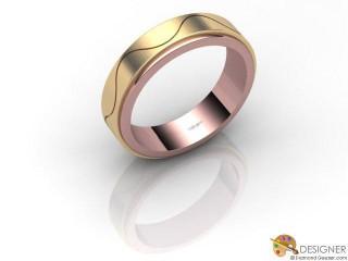 Men's Designer 18ct. Rose and Yellow Gold Court Wedding Ring-D10536-2503-000G