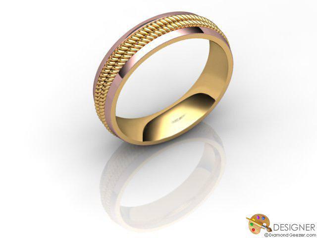 Men's Designer 18ct. Rose and Yellow Gold Court Wedding Ring