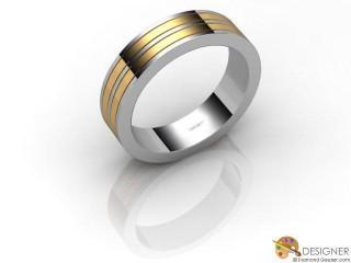 Men's Designer 18ct. Yellow and White Gold Flat-Court Wedding Ring-D10629-2801-000G