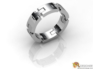 Men's Designer 18ct. White Gold Court Wedding Ring-D10663-0501-000G