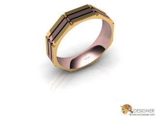 Men's Designer 18ct. Rose and Yellow Gold Court Wedding Ring-D10666-2501-000G