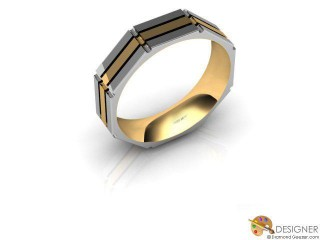 Men's Designer 18ct. Yellow and White Gold Court Wedding Ring-D10666-2801-000G