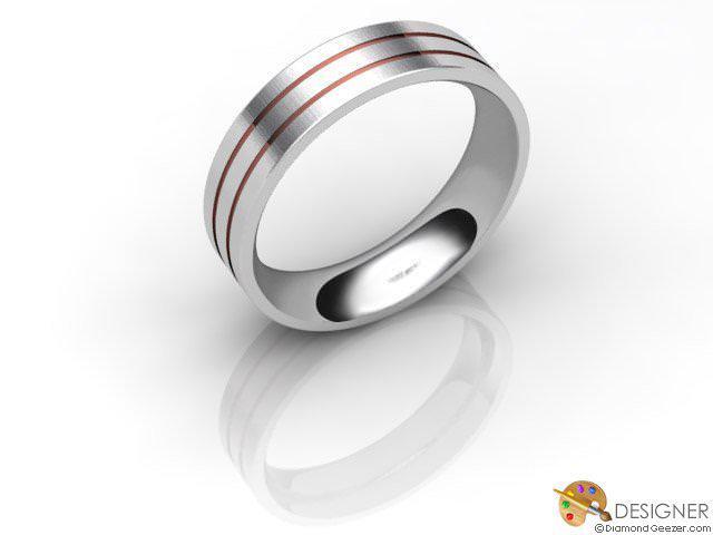 Men's Designer 18ct. White and Rose Gold Flat-Court Wedding Ring