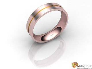 Men's Designer 18ct. Rose and Yellow Gold Court Wedding Ring-D10690-2503-000G