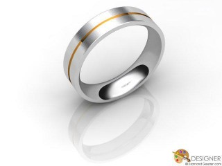 Men's Designer 18ct. Yellow and White Gold Court Wedding Ring-D10690-2803-000G