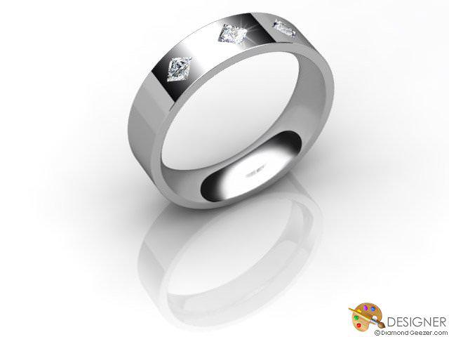 Women's Diamond Platinum Flat-Court Wedding Ring