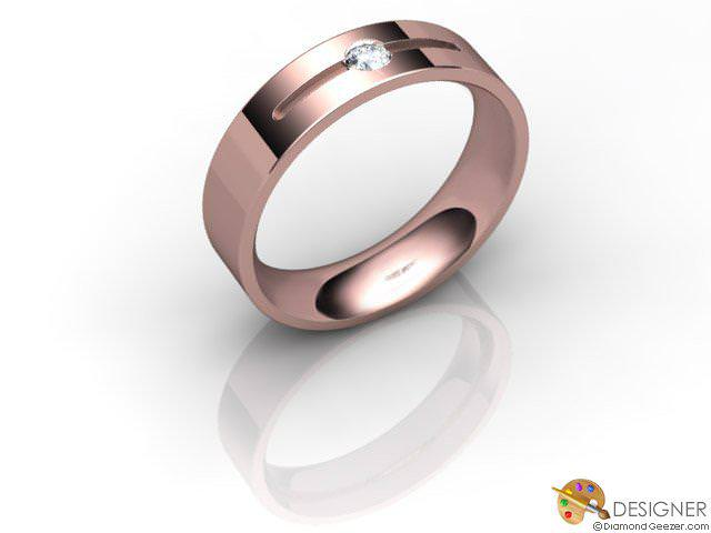 Men's Diamond 18ct. Rose Gold Court Wedding Ring