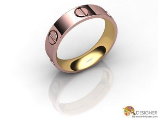 Men's Designer 18ct. Rose and Yellow Gold Court Wedding Ring-D10751-2501-000G