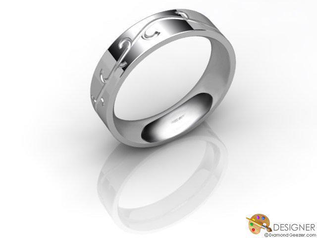 Women's Celtic Style 18ct. White Gold Court Wedding Ring