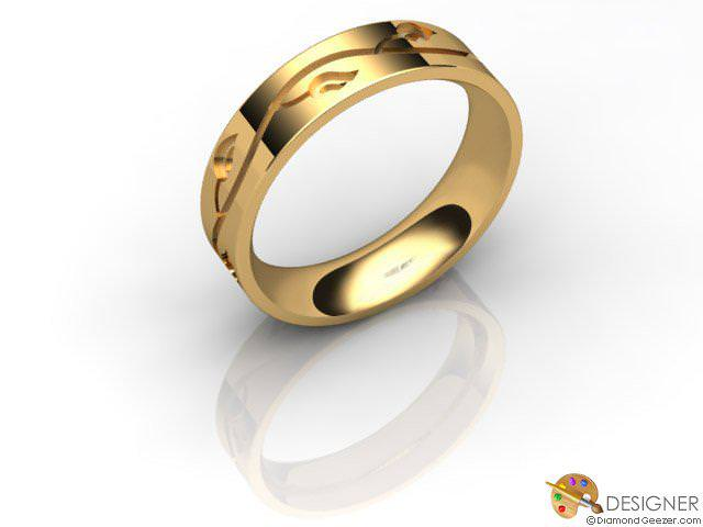 Men's Celtic Style 18ct. Yellow Gold Court Wedding Ring