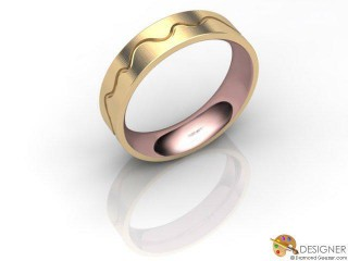 Men's Designer 18ct. Rose and Yellow Gold Court Wedding Ring-D10831-2503-000G