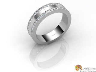 Men's Diamond Platinum Court Wedding Ring-D10848-0101-080G