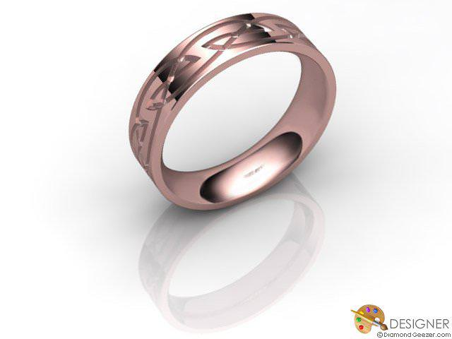 Women's Celtic Style 18ct. Rose Gold Court Wedding Ring