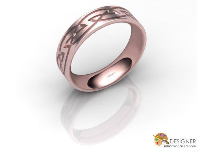 Men's Celtic Style 18ct. Rose Gold Court Wedding Ring