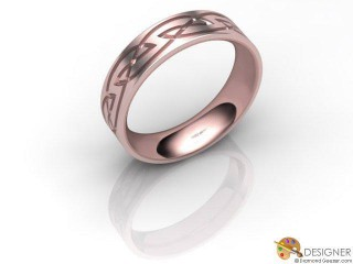Women's Celtic Style 18ct. Rose Gold Court Wedding Ring-D10868-0403-000L