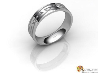 Men's Celtic Style 18ct. White Gold Court Wedding Ring-D10868-0501-000G