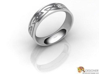 Women's Celtic Style 18ct. White Gold Court Wedding Ring-D10868-0503-000L