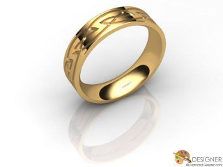 Men's Celtic Style 18ct. Yellow Gold Court Wedding Ring-D10868-1801-000G
