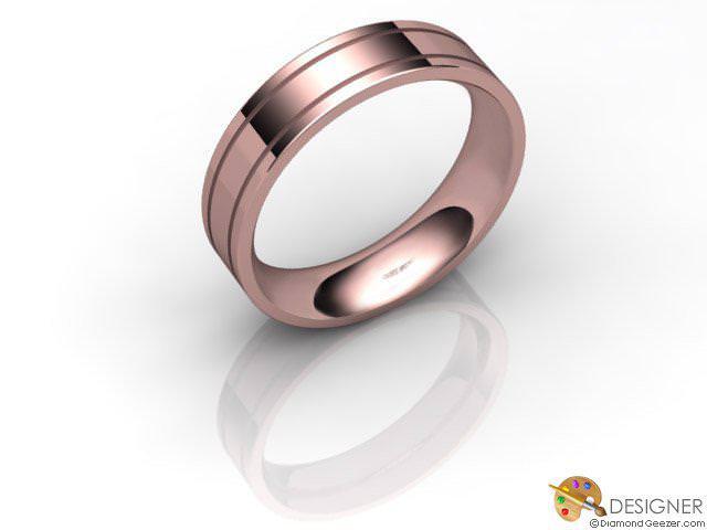 Men's Designer 18ct. Rose Gold Flat-Court Wedding Ring