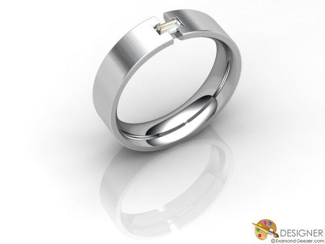 Men's Diamond Platinum Flat-Court Wedding Ring