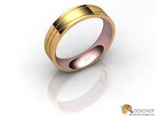 Men's Designer 18ct. Rose and Yellow Gold Court Wedding Ring-D10873-2501-000G