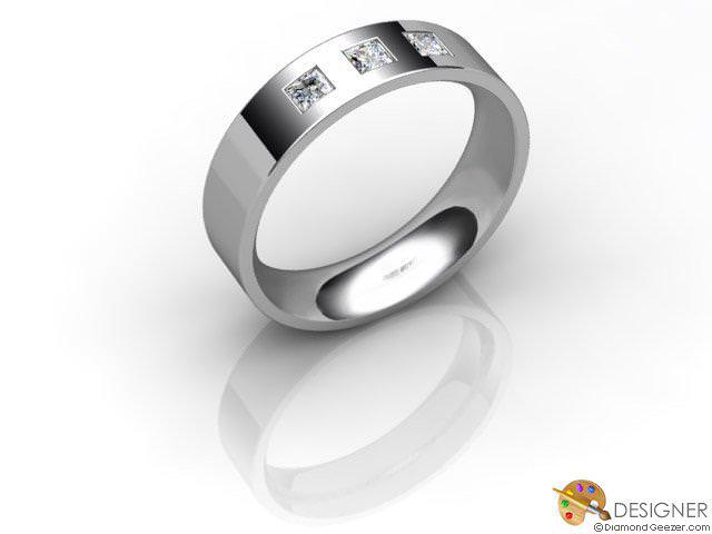 Men's Diamond Palladium Flat-Court Wedding Ring