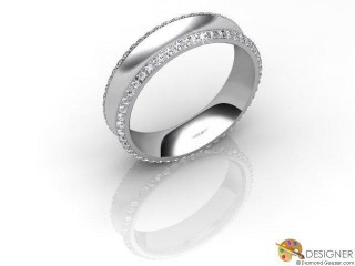 Men's Diamond Platinum Court Wedding Ring-D10908-0103-100G