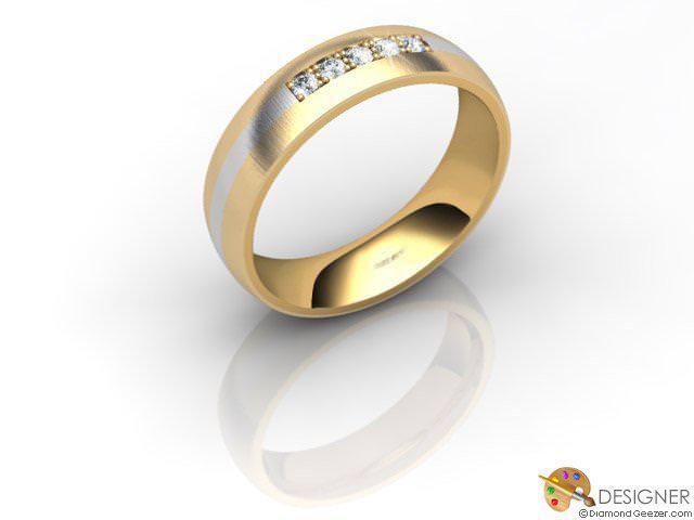 Women's Diamond 18ct. Yellow and White Gold Court Wedding Ring