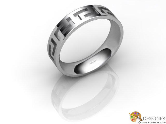 Men's Celtic Style 18ct. White Gold Court Wedding Ring