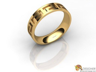 Men's Celtic Style 18ct. Yellow Gold Court Wedding Ring-D10927-1801-000G