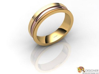Men's Designer 18ct. Rose and Yellow Gold Court Wedding Ring-D10928-2501-000G