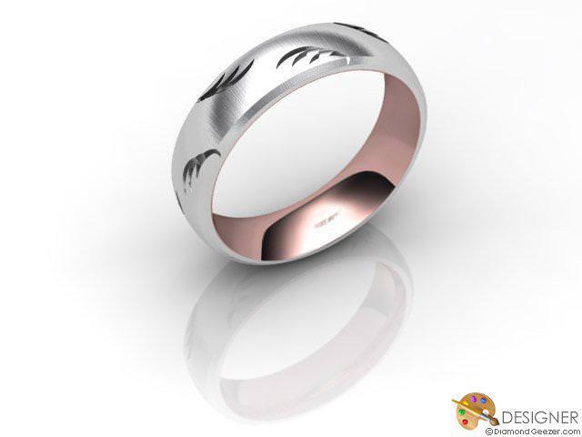 Men's Designer 18ct. White and Rose Gold Court Wedding Ring