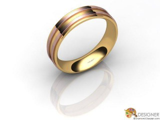 Men's Designer 18ct. Rose and Yellow Gold Court Wedding Ring-D10933-2501-000G