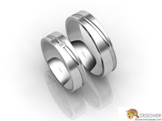 His and Hers Matching Set Platinum Court Wedding Ring-D20100-0103-001P