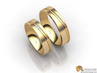 His and Hers Matching Set 18ct. Yellow Gold Court Wedding Ring-D20100-1803-001P